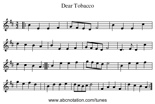 Dear Tobacco - staff notation