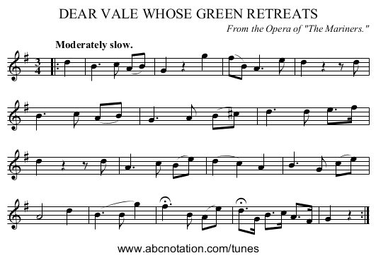 DEAR VALE WHOSE GREEN RETREATS - staff notation