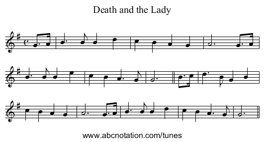 Death and the Lady - staff notation