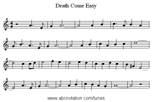 Death Come Easy - staff notation