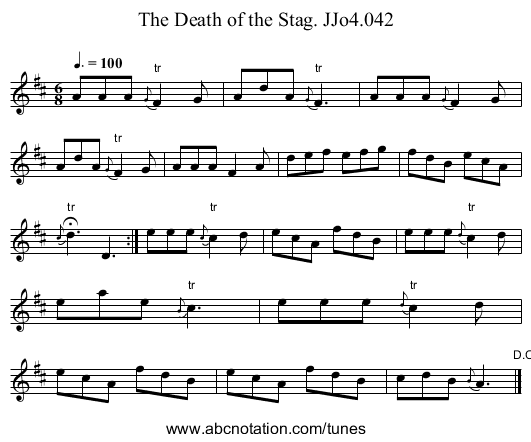Death of the Stag,The. JJo4.042 - staff notation