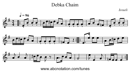 Debka Chaim - staff notation