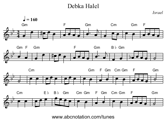 Debka Halel - staff notation