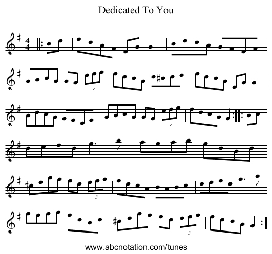 Dedicated To You - staff notation