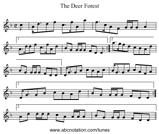 Deer Forest, The - staff notation
