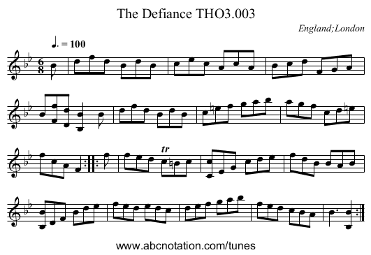 Defiance THO3.003, The - staff notation