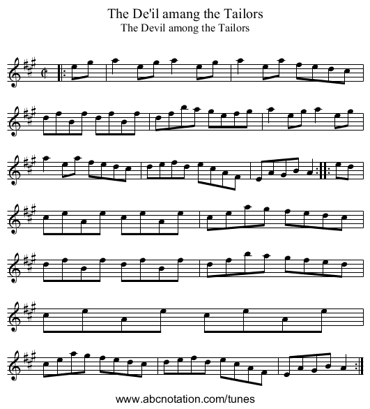 De'il amang the Tailors, The - staff notation