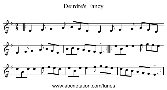 Deirdre's Fancy - staff notation