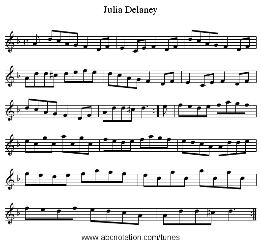 Delaney, Julia - staff notation