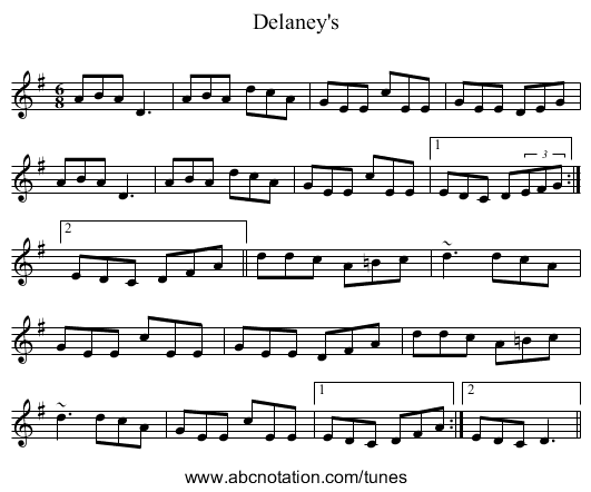 Delaney's - staff notation