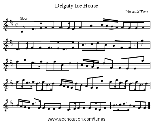 Delgaty Ice House - staff notation