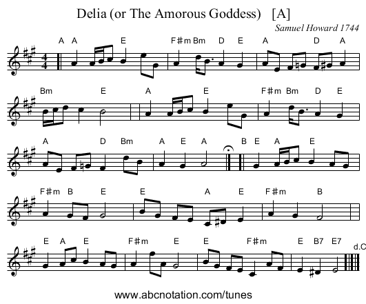 Delia (or The Amorous Goddess)   [A] - staff notation