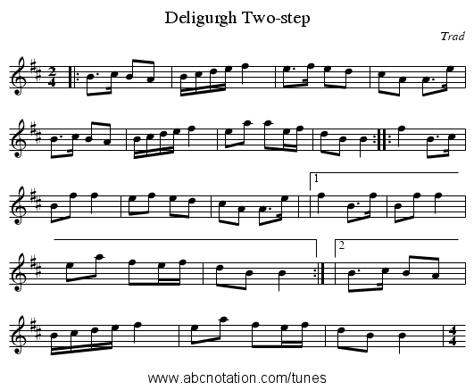Deligurgh Two-step - staff notation