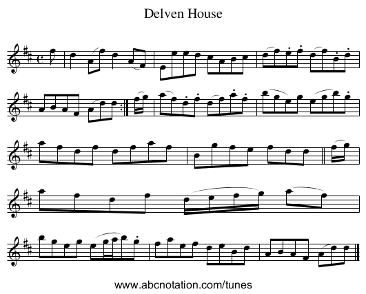Delven House - staff notation