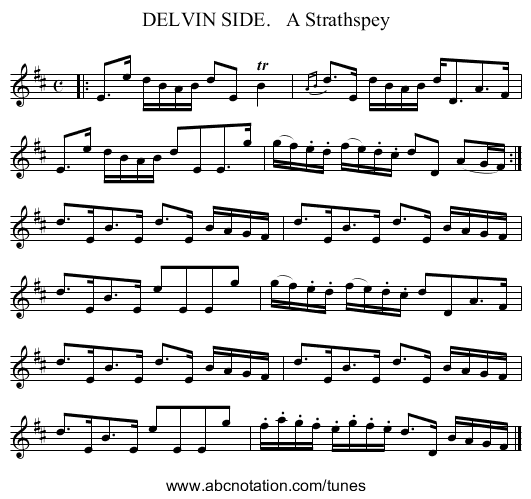 DELVIN SIDE.   A Strathspey - staff notation