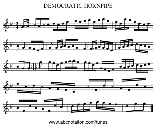 DEMOCRATIC HORNPIPE - staff notation