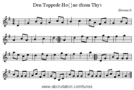 Den Toppede Høne (from Thy) - staff notation