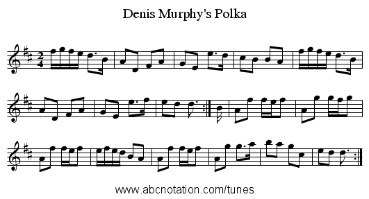 Denis Murphy's Polka - staff notation