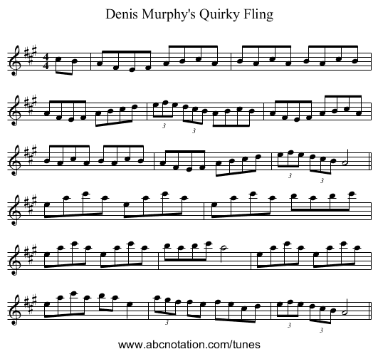 Denis Murphy's Quirky Fling - staff notation