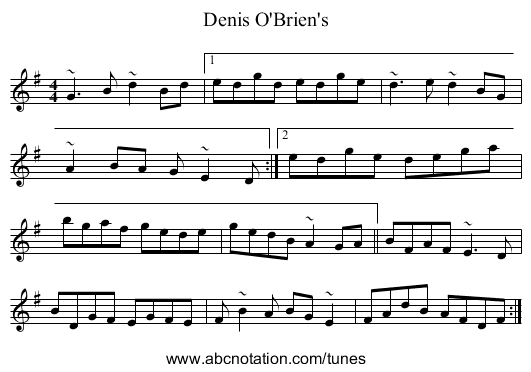 Denis O'Brien's - staff notation