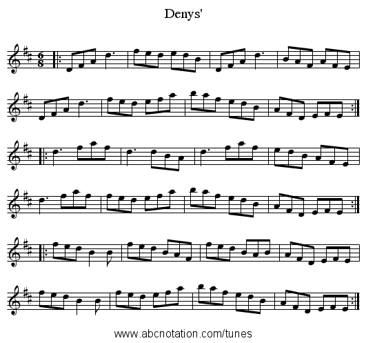 Denys' - staff notation