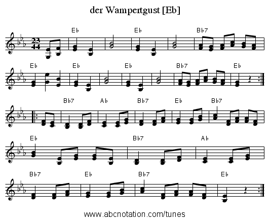 der Wampertgust [Eb] - staff notation