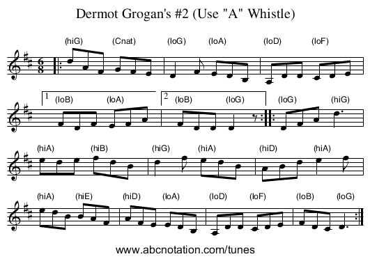 Dermot Grogan's #2 (Use A Whistle) - staff notation