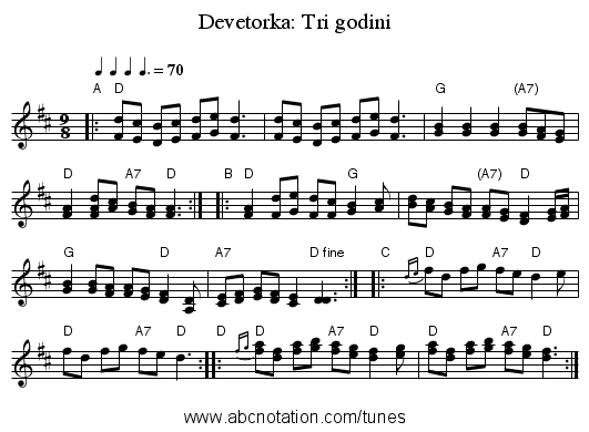 Devetorka: Tri godini - staff notation