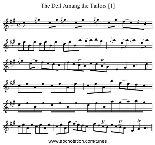 Devil Among the Tailors [1] - staff notation