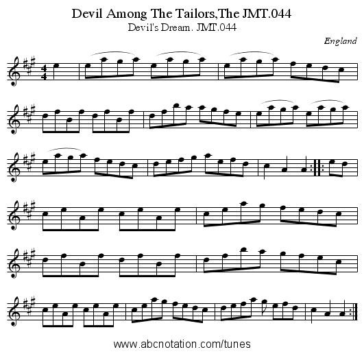 Devil Among The Tailors,The JMT.044 - staff notation