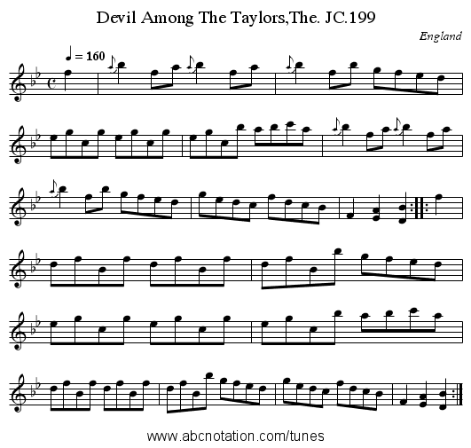 Devil Among The Taylors,The. JC.199 - staff notation