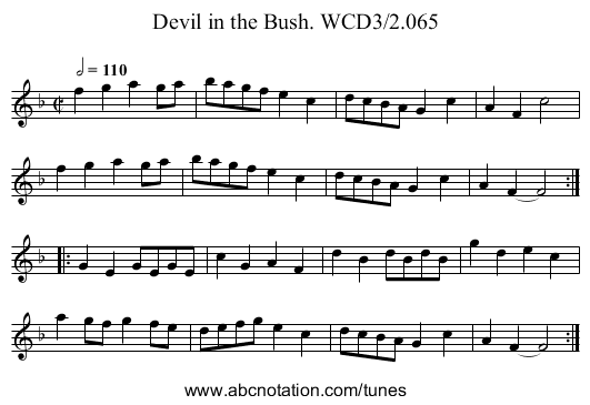 Devil in the Bush. WCD3/2.065 - staff notation
