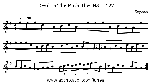 Devil In The Bush,The. HSJJ.122 - staff notation