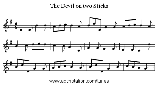 Devil on two Sticks, The - staff notation