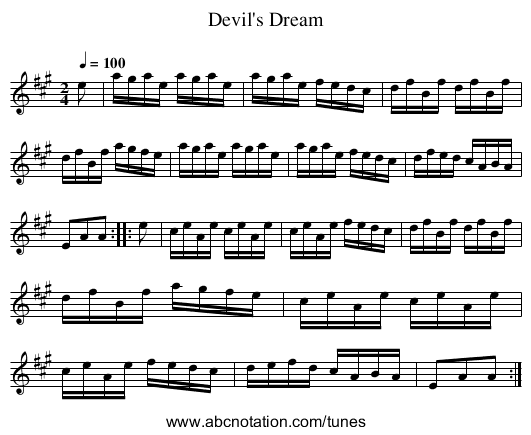 Devil's Dream - staff notation
