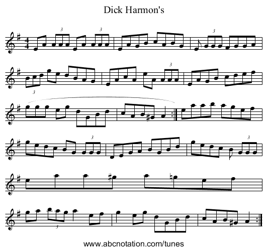 Dick Harmon's - staff notation