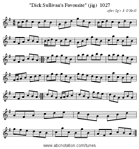 Dick Sullivan's Favourite (jig)  1027 - staff notation