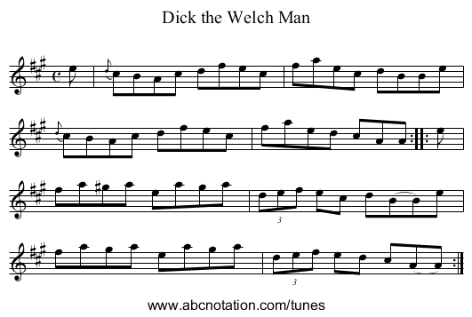 Dick the Welch Man - staff notation