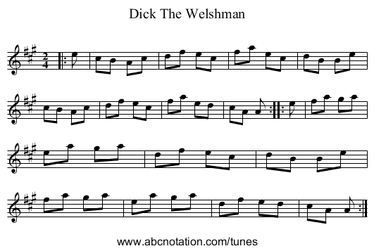 Dick The Welshman - staff notation