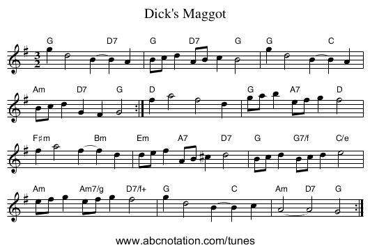 Dick's Maggot - staff notation