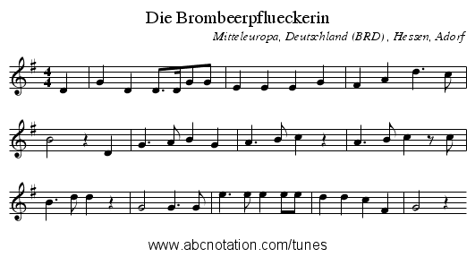Die Brombeerpflueckerin - staff notation