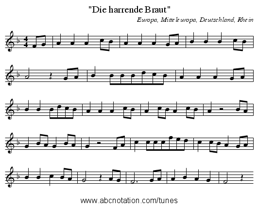 Die harrende Braut - staff notation