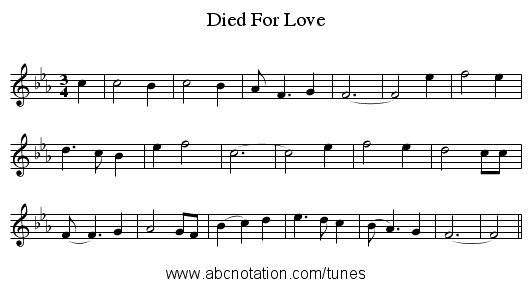 Died For Love - staff notation