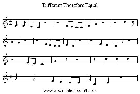 Different Therefore Equal - staff notation