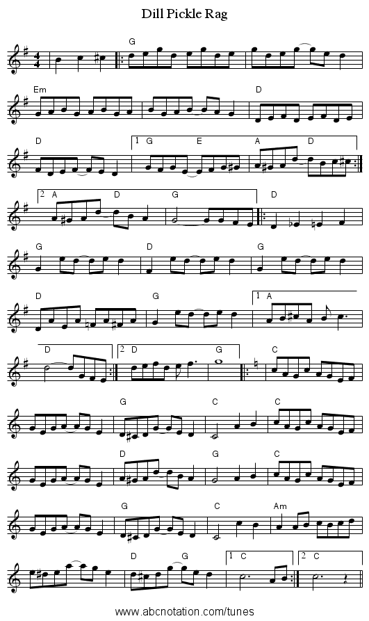 Dill Pickle Rag - staff notation