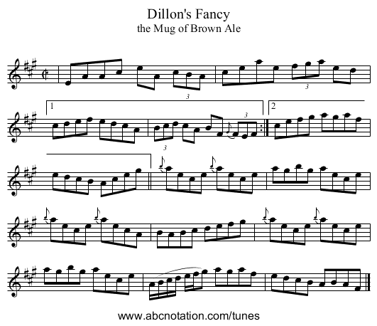 Dillon's Fancy - staff notation