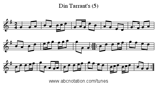 Din Tarrant's (5) - staff notation