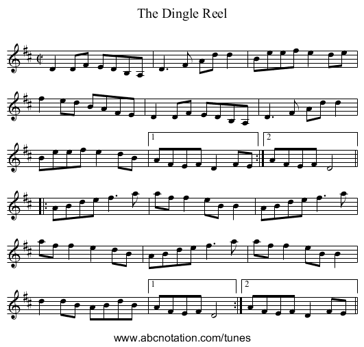 Dingle Reel, The - staff notation