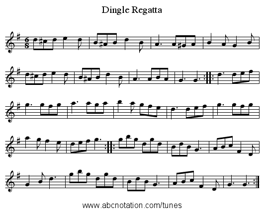 Dingle Regatta - staff notation