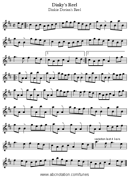 Dinky's Reel - staff notation